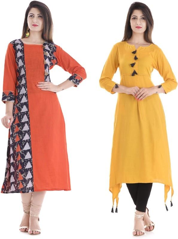 Stylum Casual Printed Women Kurti(Pack of 2, Yellow, Orange)