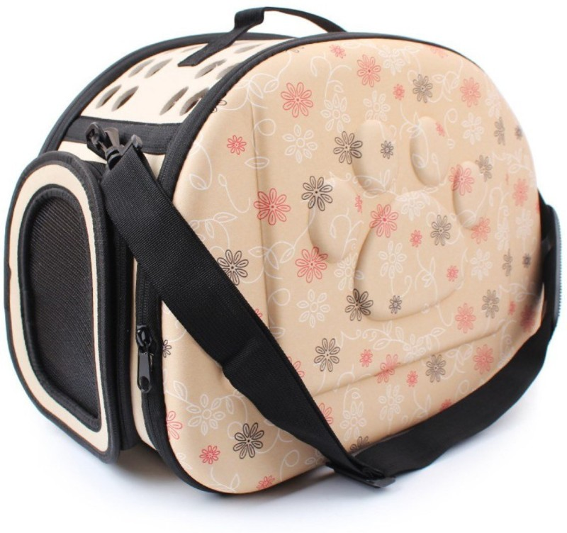 SRI High Quality Fashionable Travel Pet Storage Fold Able Pet Carrier Bag For Cat And Puppy Beige Airline Pet Carrier(Suitable For Cat, Dog)