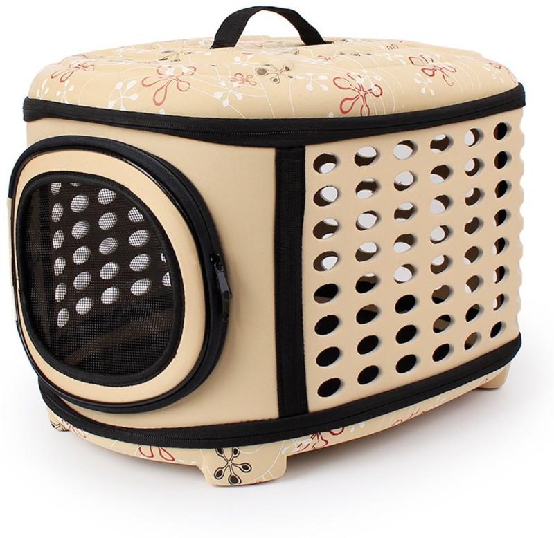 SRI Travel Foldable Pet Carrier Bag For Cat & Puppy -Small Beige Basket Pet Carrier(Suitable For Cat, Dog)