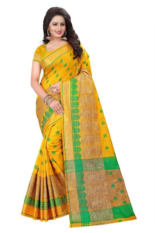 Cartyshop Embroidered, Woven Banarasi Cotton Silk Saree(Yellow)