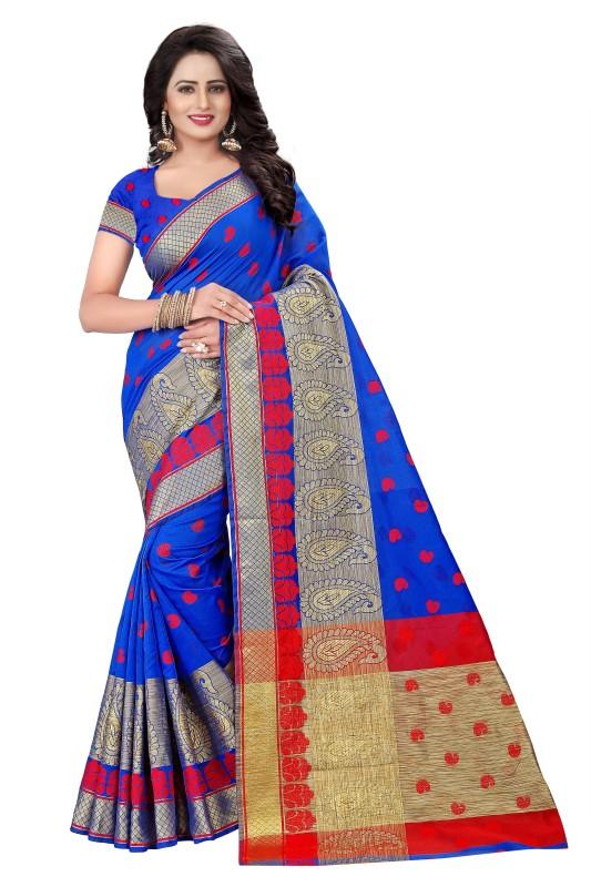 Cartyshop Embroidered, Woven Banarasi Cotton Silk Saree(Blue)