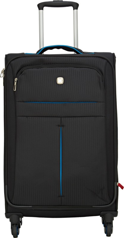 Swiss Gear 23.5 SPINNER/BLACK/TURQUOISE Expandable Check-in Luggage - 23 inch(Black)
