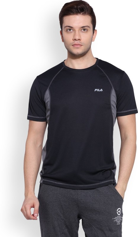 Fila Solid Mens Round Neck Black T-Shirt
