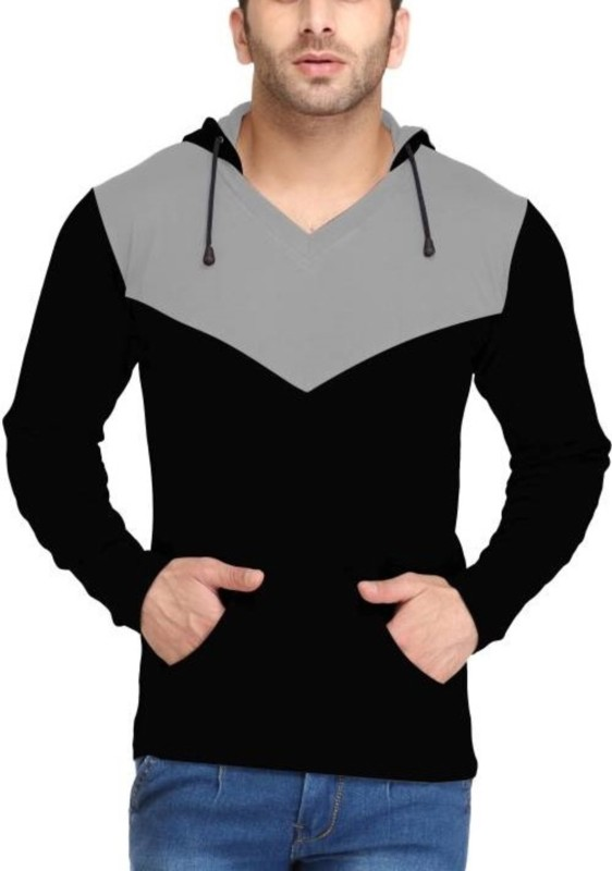 Try This Solid Men's Hooded Black T-Shirt