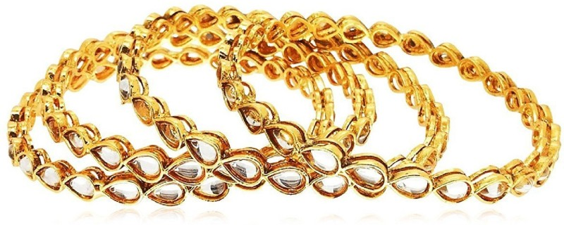 aabhu Alloy Cubic Zirconia Gold-plated Bangle Set(Pack of 4)