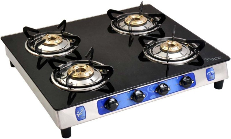 Suraksha Shine Crystal Three Tri Pin Brass Burner Cooktop Toughened Glass Top With Stainless Steel Highly Efficiency L.P Gas Stove Glass Manual Gas Stove(4 Burners)