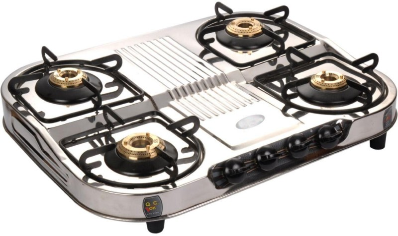 Suraksha Shine Smart Boss 4 Tri Pin Brass Burner Cooktop With Stainless Steel Gas Stove Steel Manual Gas Stove(4 Burners)