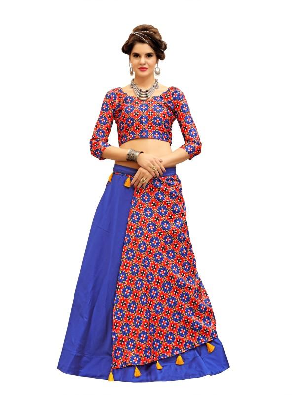 fabkaz Ikkat Semi Stitched Lehenga Choli(Blue, Multicolor)