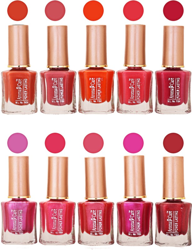 Aroma Care Power Lasting Nail Polish (Pack Of 10) Multicolor Multicolor Set-206-213(Pack of 10)