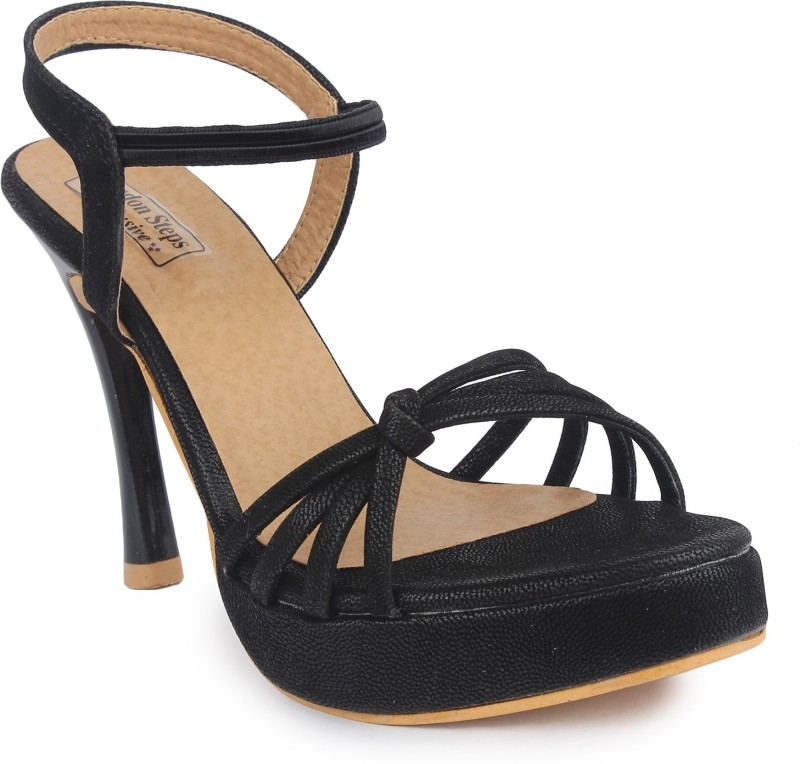 London Steps Women Black Heels