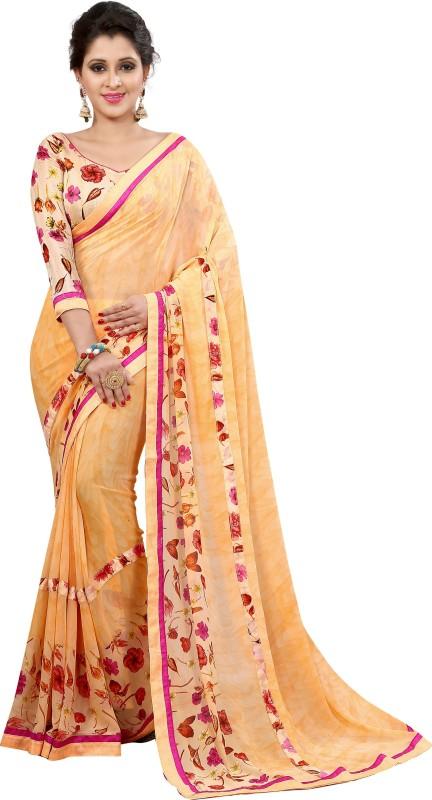 Arya Fashion Self Design Bollywood Georgette Saree(Orange)