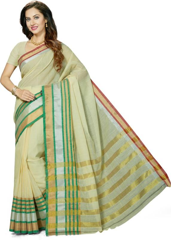 Ishin Woven Bollywood Cotton Saree(Beige)