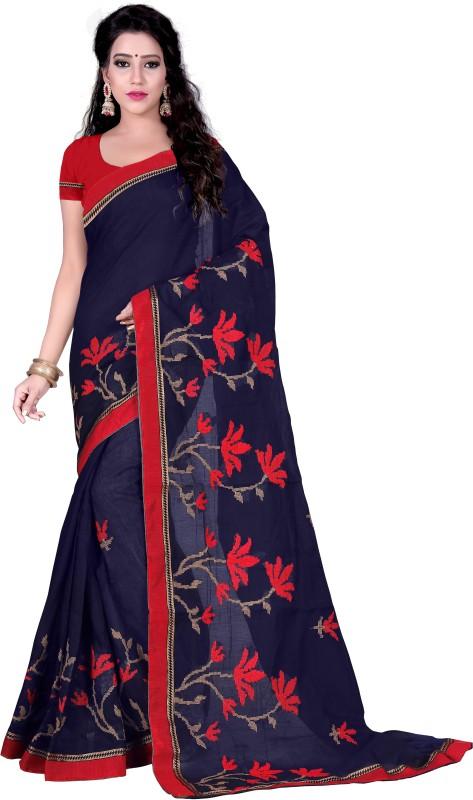 Pari Designer Embroidered Chanderi Cotton Saree(Multicolor)