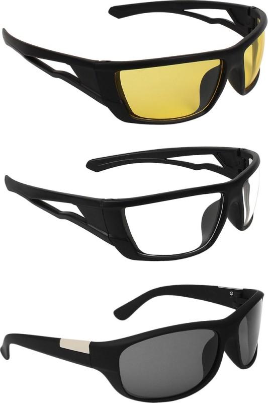 Zyaden Wrap-around Sunglasses(Yellow, Clear, Black) image