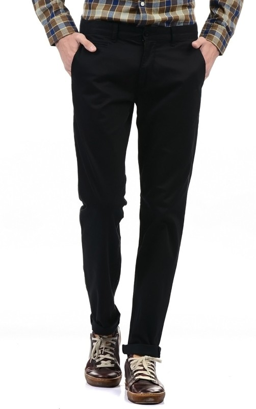 Izod Regular Fit Men Black Trousers