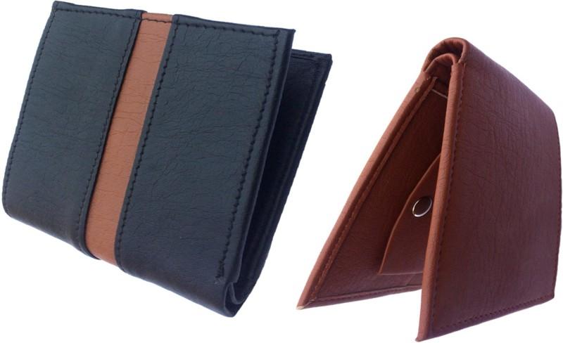 FRIENDS & COMPANY Men Black, Tan Genuine Leather Wallet(8 Card Slots)