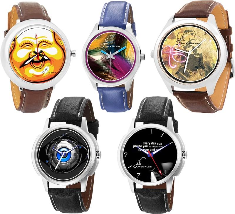 Jack Klein 5 Stylish Round Dial Different Color Strap Quartz Analogue Watch - For Men