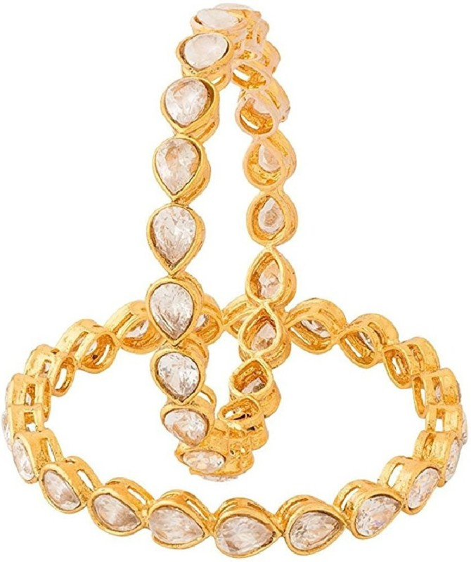 aabhu Alloy Cubic Zirconia Gold-plated Bangle Set(Pack of 2)