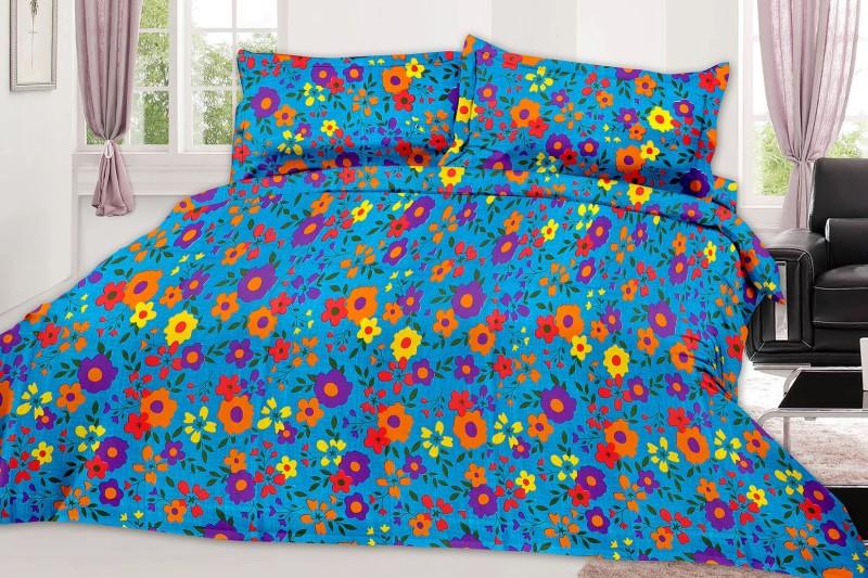 MINU Bedsheets 130 TC Cotton Single Floral Bedsheet(1 Bedsheets : 2 Pillow Cover, Blue)