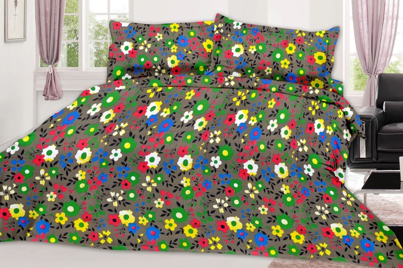 MINU Bedsheets 130 TC Cotton Single Floral Bedsheet(1 Bedsheets : 2 Pillow Cover, GRAY)