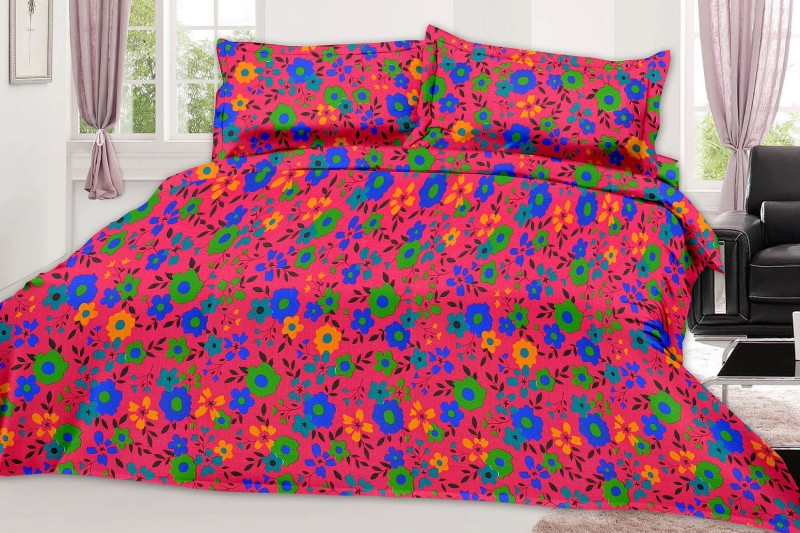 MINU Bedsheets 130 TC Cotton Single Floral Bedsheet(1 Bedsheets : 2 Pillow Cover, Pink)