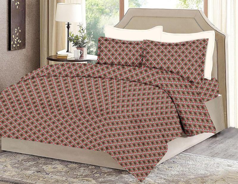 MINU Bedsheets 130 TC Cotton Single Motifs Bedsheet(1 Bedsheets : 2 Pillow Cover, Red)