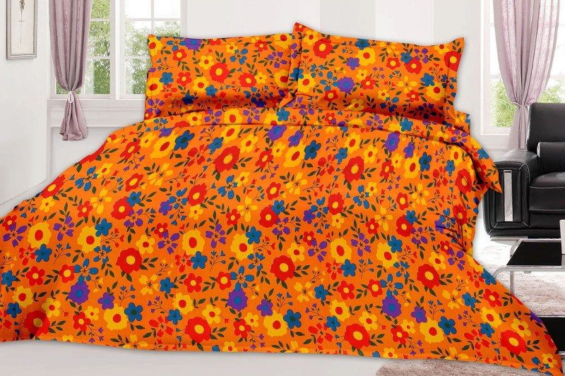 MINU Bedsheets 130 TC Cotton Single Floral Bedsheet(1 Bedsheets : 2 Pillow Cover, Yellow)