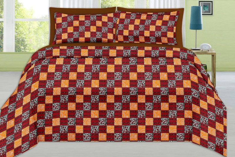 MINU Bedsheets 130 TC Cotton Single Checkered Bedsheet(1 Bedsheets : 2 Pillow Cover, Maroon)