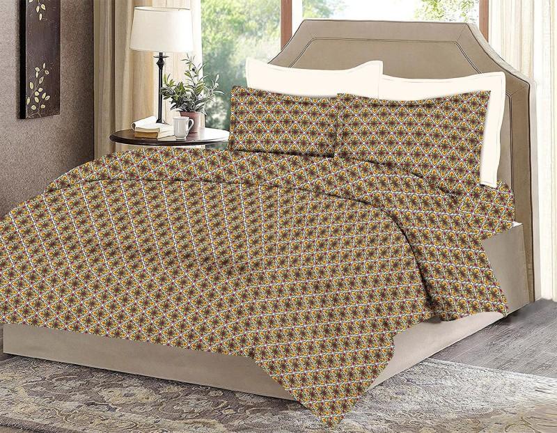 MINU Bedsheets 130 TC Cotton Single Motifs Bedsheet(1 Bedsheets : 2 Pillow Cover, Orange)