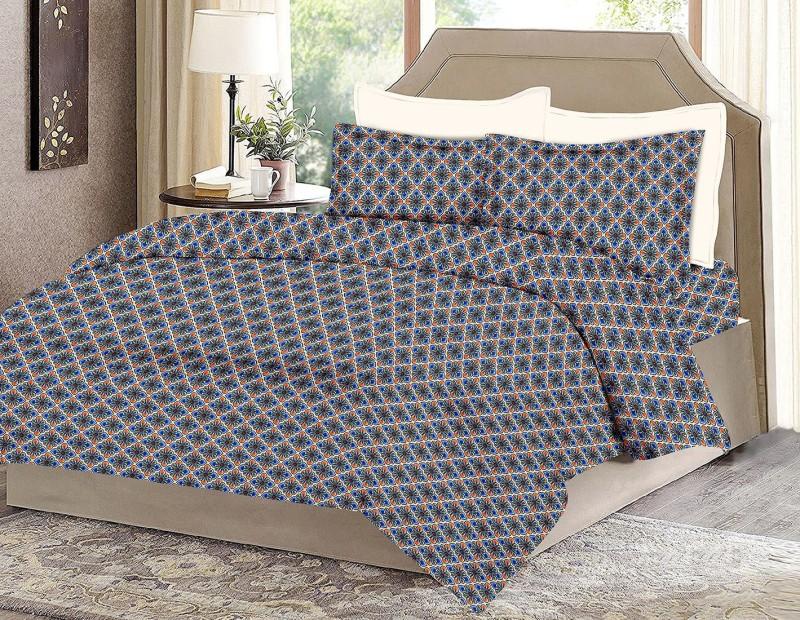 MINU Bedsheets 130 TC Cotton Single Motifs Bedsheet(1 Bedsheets : 2 Pillow Cover, Blue)