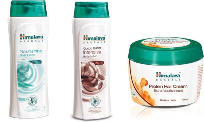 Himalaya Nourishing Body Lotion, Cocoa Butter Intensive Body Lotion, Protein hair Cream(Set of 3)