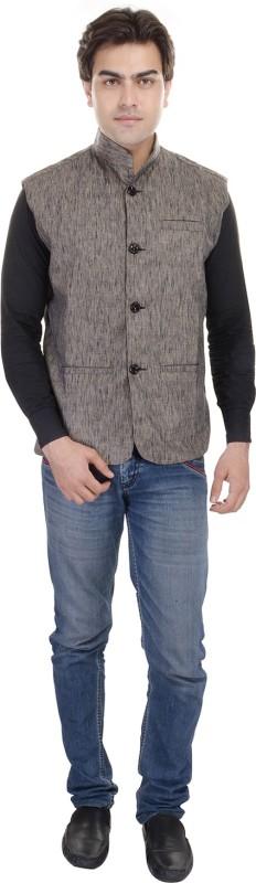 AD & AV Sleeveless Self Design Men's Linen Jacket