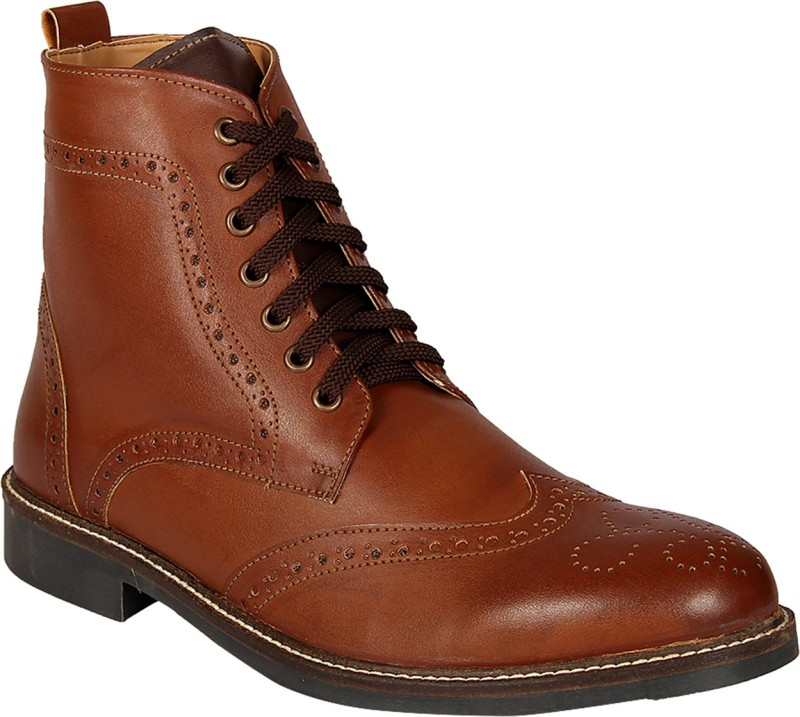 Knotty Derby Burbage Wing Cap Brogue Boot Lace Up For Men(Tan, Brown)