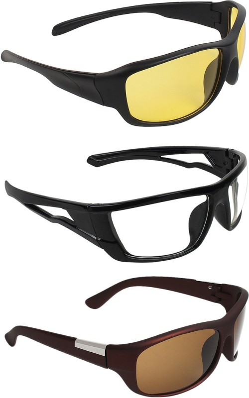 Zyaden Wrap-around Sunglasses(Yellow, Clear, Brown) image