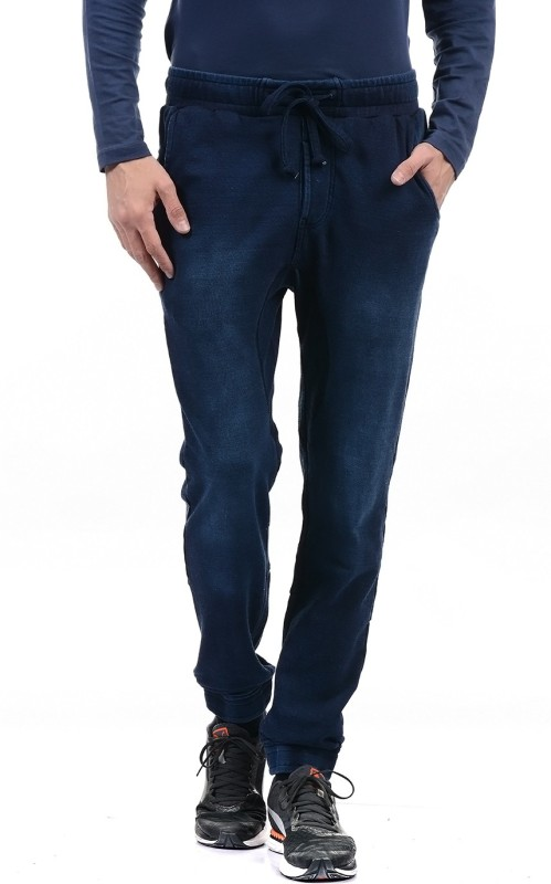 Pepe Jeans Solid Mens Blue Track Pants