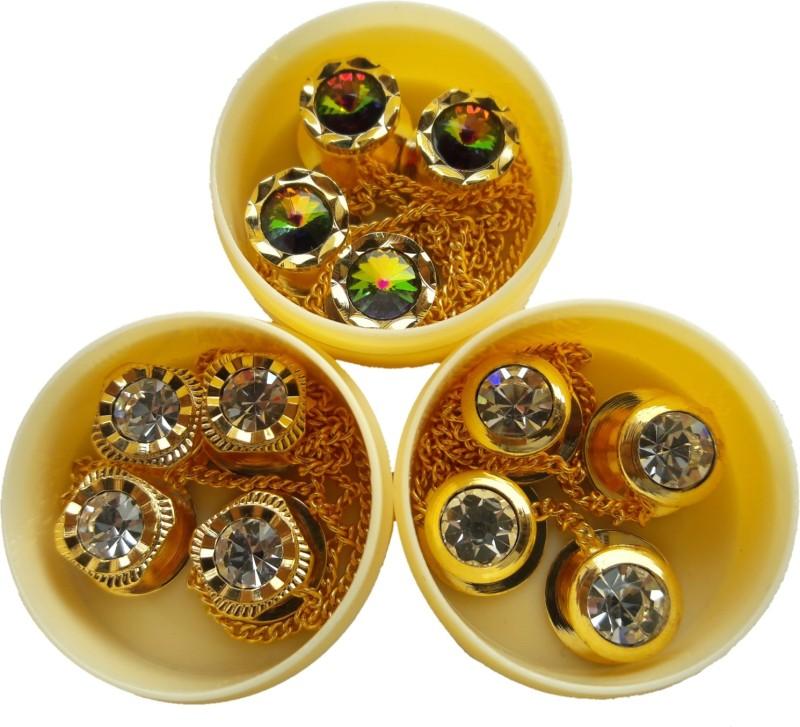 TLO jeans Button 00860 Shiny diamond sherwani button Brass, Stone Buttons(Pack of 12)