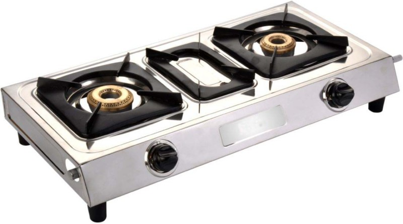 Blue Eagle Classic DT Stainless Steel 2 Tri Pin Brass Burner Steel Manual Gas Stove(2 Burners)