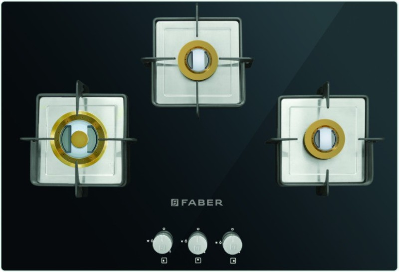 FABER HTG 753 CRS BR CI Glass, Stainless Steel Automatic Gas Stove(3 Burners)