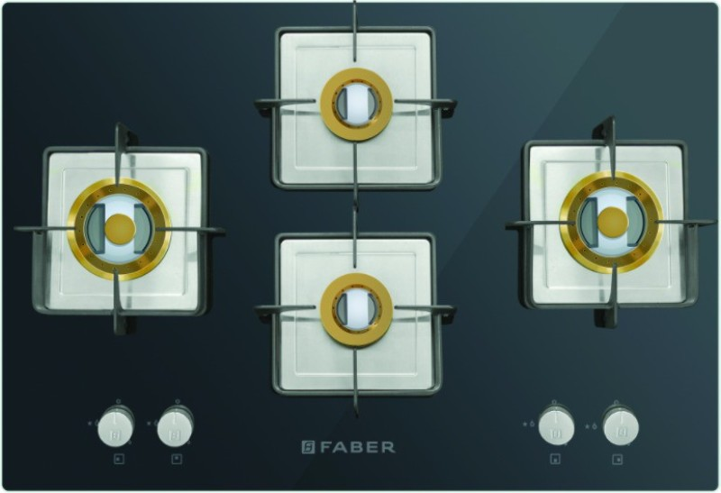 FABER HTG 754 CRS BR CI Glass, Stainless Steel Automatic Gas Stove(4 Burners)