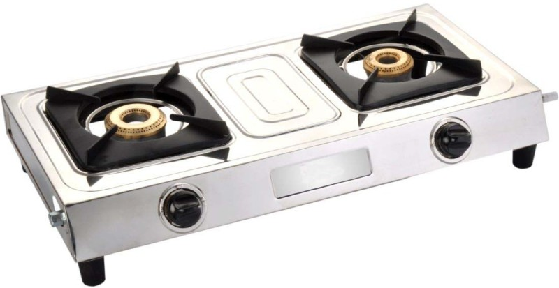 Blue Eagle Classic Stainless Steel 2 Tri Pin Brass Burner Steel Manual Gas Stove(2 Burners)