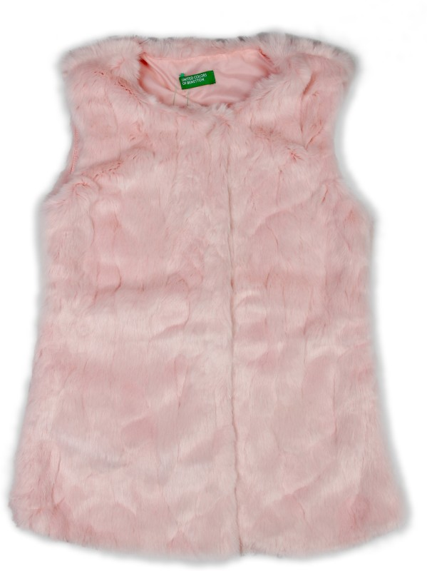 United Colors of Benetton Sleeveless Self Design Girls Jacket