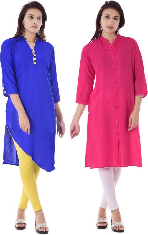 DUENITE Casual Solid Women Kurti(Pack of 2, Blue, Pink)