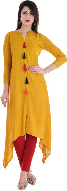 Stylum Festive & Party Solid Women Kurti(Yellow)