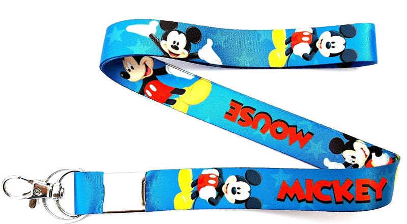 Blue Aura Mickey Mouse Keychain with Lock ID Holder Lanyard(multi)
