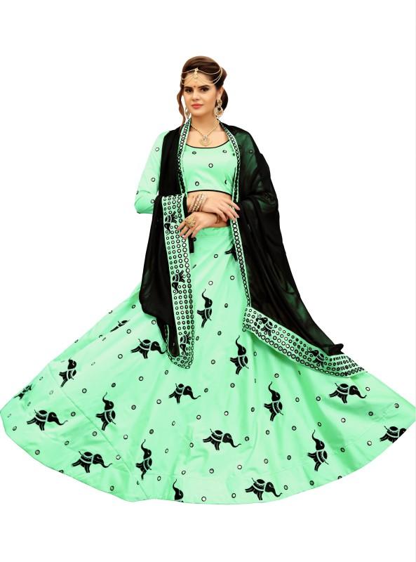 fabkaz Self Design Lehenga Choli(Green)
