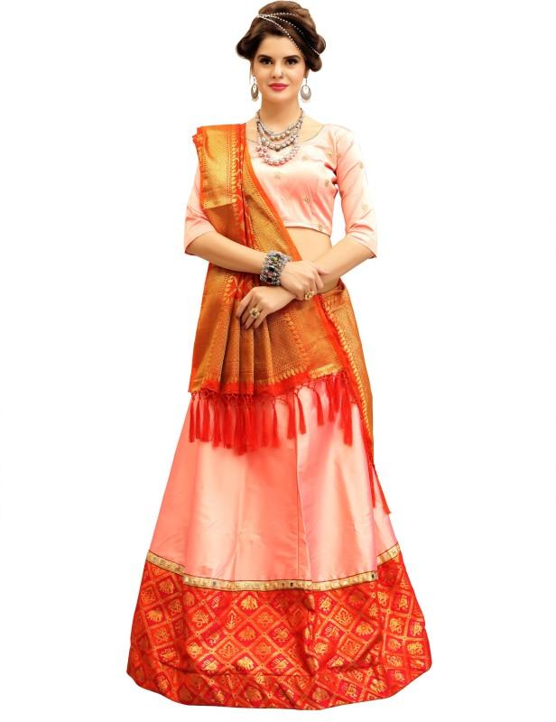 KMOZI Self Design Semi Stitched Lehenga, Choli and Dupatta Set(Pink)