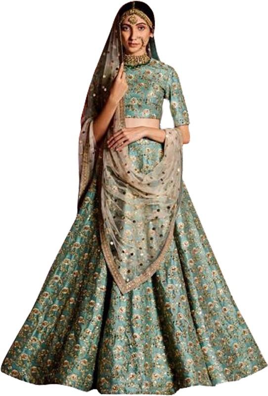 Fabron Embellished Sea Green Sequins Raw Silk Semi-Stitched Lehenga Choli Material