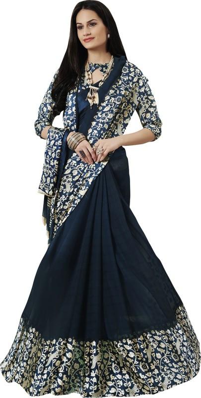Ratnavati Printed Bollywood Faux Georgette, Satin Saree(Dark Blue)