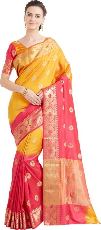 Viva N Diva Woven Banarasi Banarasi Silk Saree(Pink)