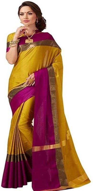 V J Fashion Solid Fashion Art Silk Saree(Gold)